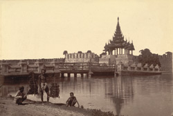 Bridge leading across the moat to the South Gate, taken from the road outside the moat, [Mandalay]